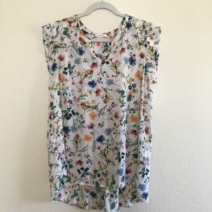 Pleione • hi low floral sheer blouse size 4